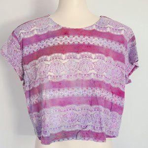 4/$20 ♥ Boxy Boho Semi-sheer Cropped T-shirt (S)